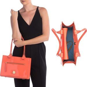 Dooney & Bourke Patent Leather Domed Satchel Coral